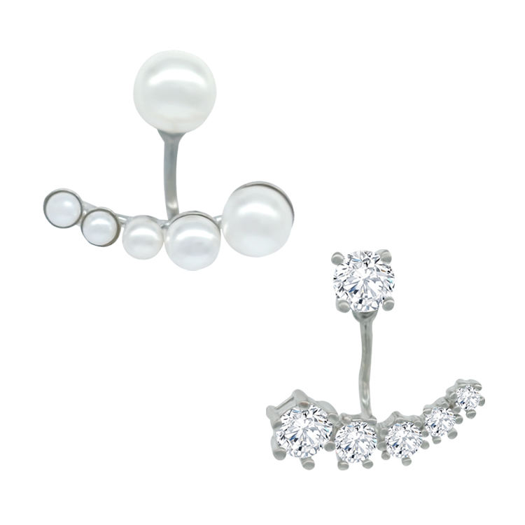 Elegant Ivory Tone Double Side Pearl Cubic Zirconia pearl ear Jacket earrings