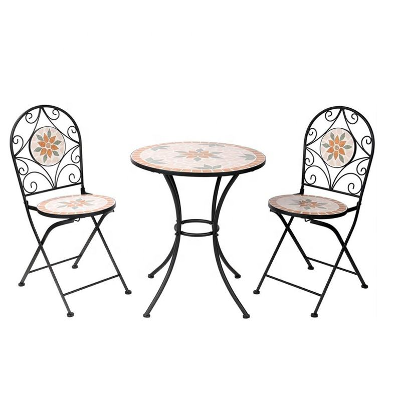 European simple design black metal mosaic tile bistro table and chairsc pub table