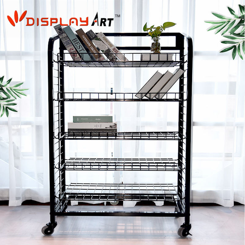 5 Shelves Metal Magazine/Book Display Rack with Caster