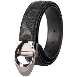 Custom  Men's  Dress Reversible Rotated Buckle Genuine Leather Belt