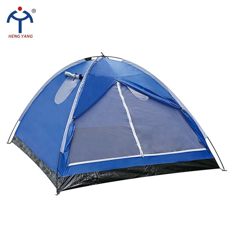 2020 New product 3-4 person blue color manual camping tent with two skylights