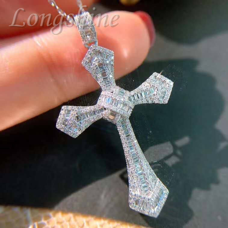 HipHop Luxury Jewelry Custom Cross Shaped 18K Gold Men Pendant Iced Out Diamond Chain Necklace