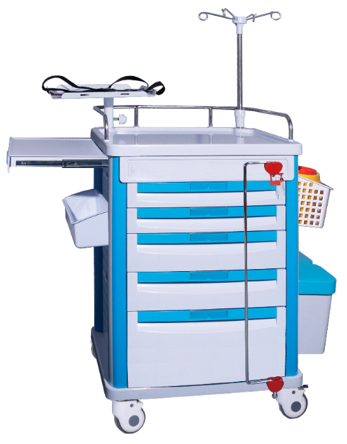 TC-501 Hospital luxury medical resuscitation ABS cart emergency trolley with laptop bracket factory price