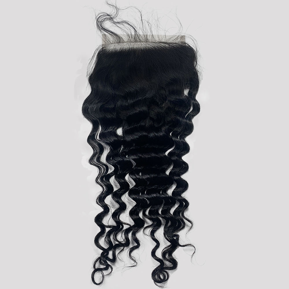 Remy Silky Weave swiss medium brown lace closure human virgin hair deep wave 4x4