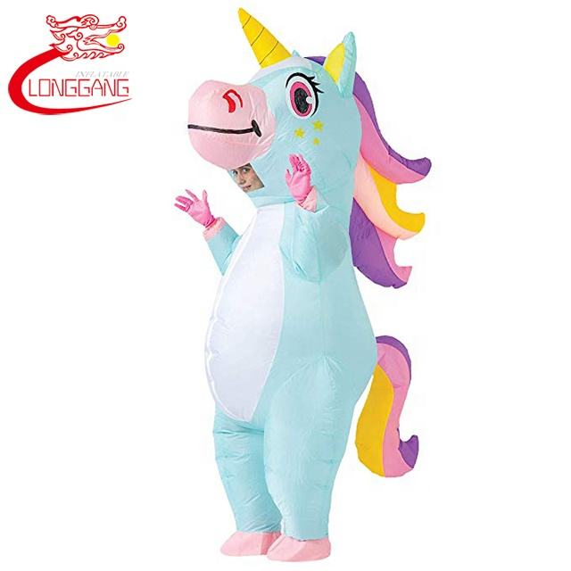 Adult Inflatable Unicorn Costume Centaur Suit Fancy Party Dress for Mens Womens Halloween White
