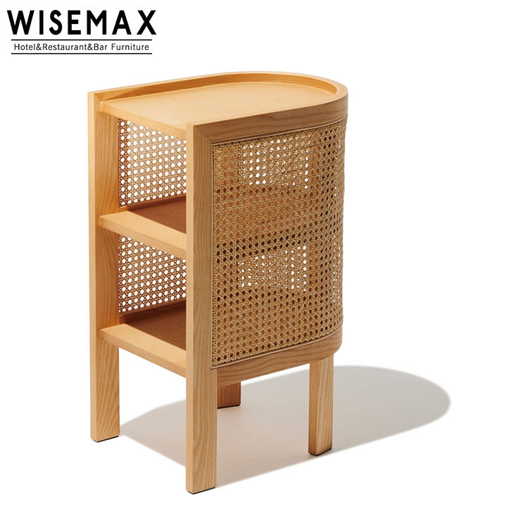 Mid Centry Modern Wood Frame Nighstand Bed Side Table With Rattan Cane Back Design Wood Storage Cabinet