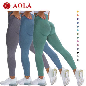 AOLA Sex Fitness Lady's Sport Yoga Pants For Plus Size Workout High Waist Sweat Skin Tight Leggings Women