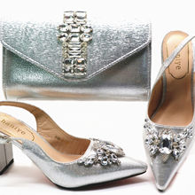 Elegant silvery Women Shoes and Bag Set  wedding Shoes and Bag Set Italy Shoes and Bag Sets