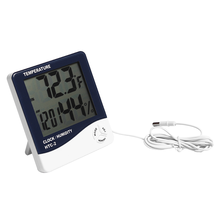 With hygrometer and clock Multifunction digital Thermometer for showing temperature,humidity,time with LCD display HTC-2