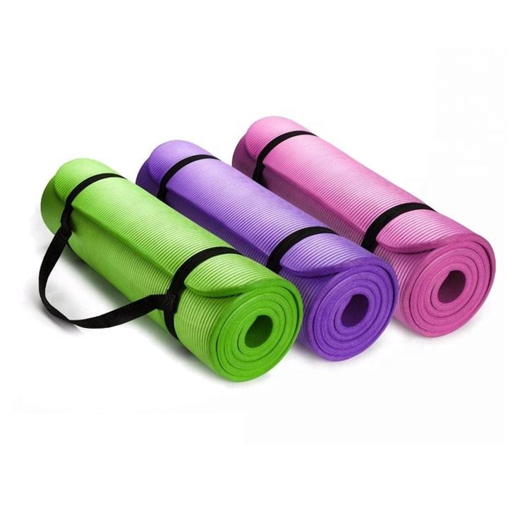 10mm Extra Thick NBR Exercise Yoga Mat for Pilates Fitness Workout w Carrying Strap