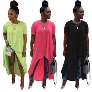 N2208 ladies casual solid short sleeve plain blank long t-shirt dresses
