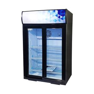 105L Double Glass Door Refrigeration Equipment Drinking Display Cooler For Shop