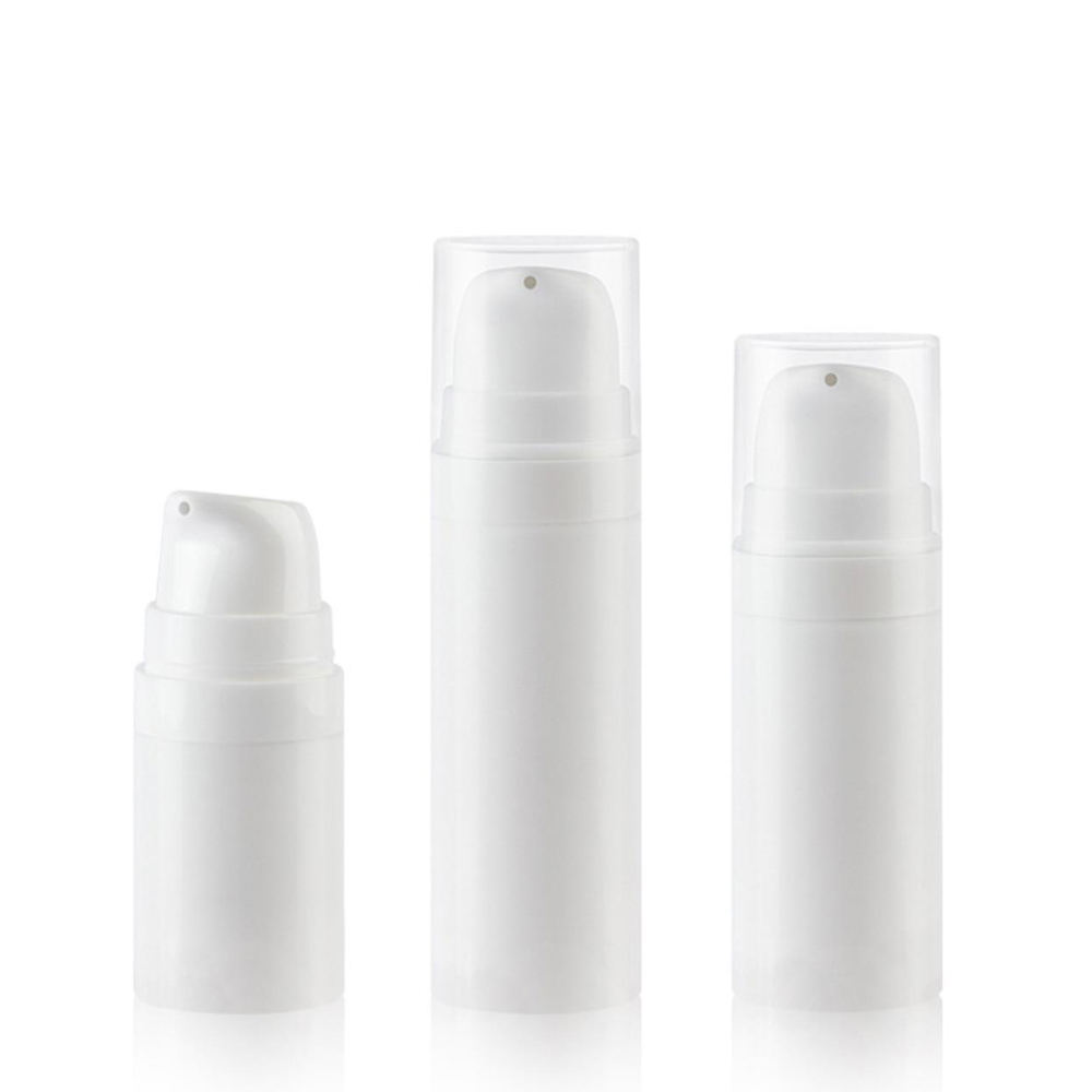 Mini Sample bottle PP plastic white 5ml airless cosmetic pump bottle for lotion serum