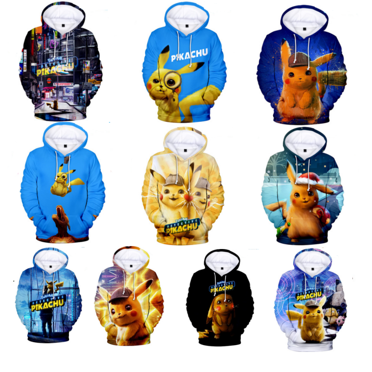 UFOGIFT Men Pikachu 3D Print Pullover Hoodies Sweatshirt with Kangaroo Pocket Pikachu Pokemon Hoodie