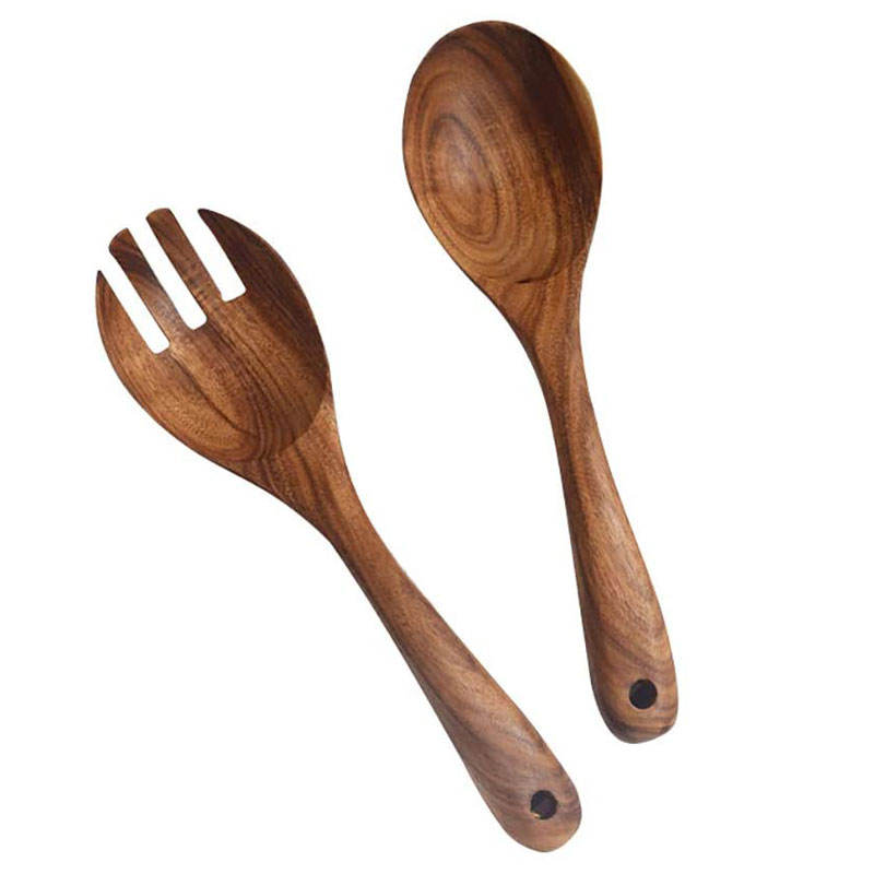 Original wooden color Wooden Salad Server Set of 6 Acacia Stirring Spoon 10-Inch Wooden Utensils for Serving Salad