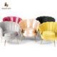 Chair Shaped Chair Accent Chair Living Room Leisure Sofa Chair Velvet Shell Shaped Metal Arm Accent Chair