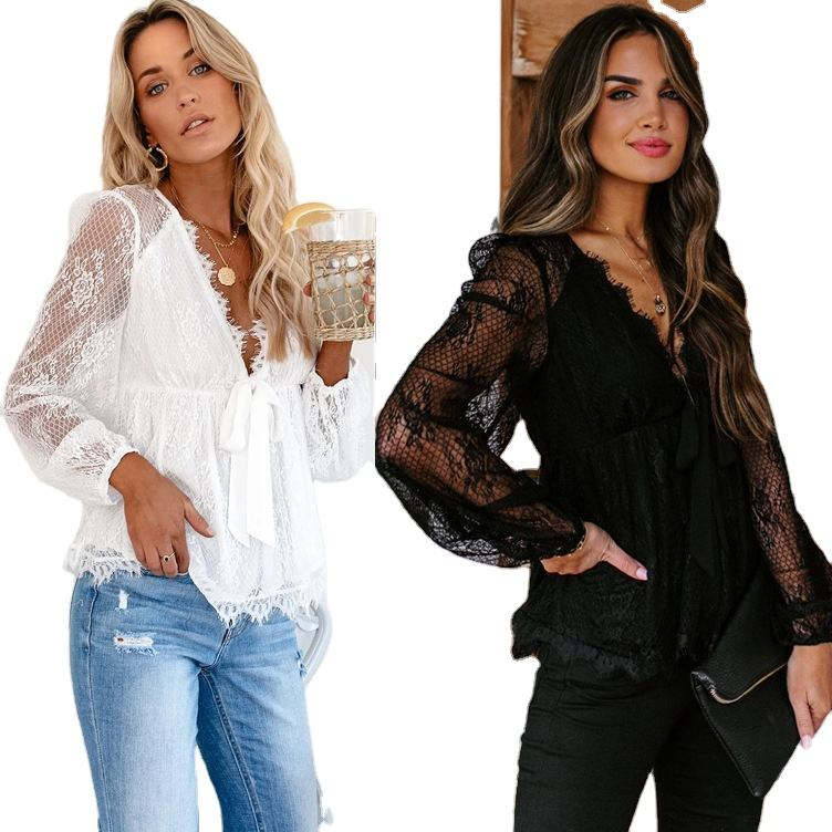Button for Laies Bow Tie Women Blouses Top Long Sleeve 2019 Bridal Boutique Design Embroidery Tops Blouse