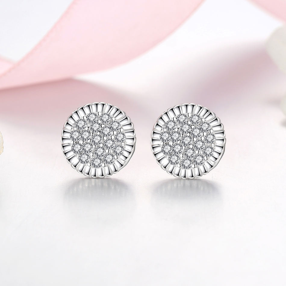 Woman's Wholesale Clear Cubic Zircon Circular Stud Earrings Woman Wedding Earrings 925 Sterling Siver Earrings Jewelry
