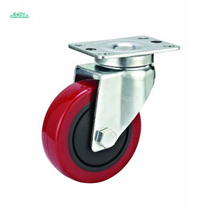 1 inch to 3 inch Heavy duty shock rigid stem leveling small rubber plastic trolley wheel industrial caster