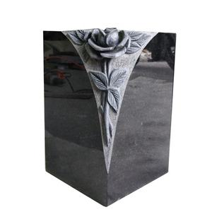 Wholesale Polished Square Black Granite Flower Cemetery Vases for Grave Tombstone Monument