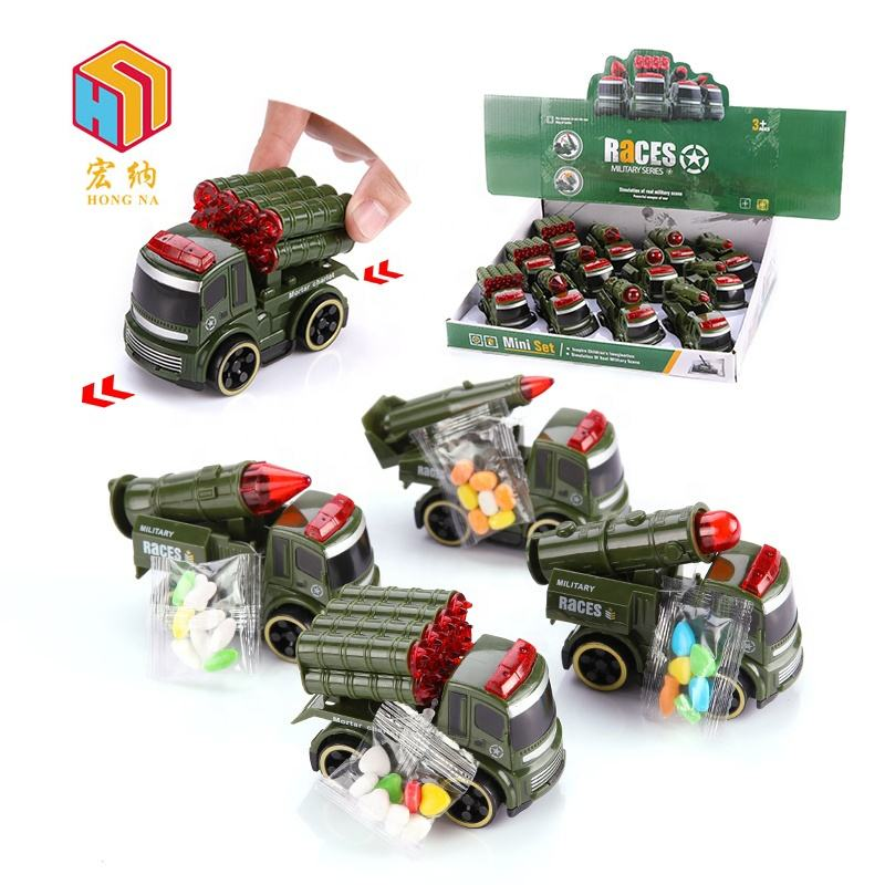 european wholesale market military vehicle series truck race car kids toys with candy