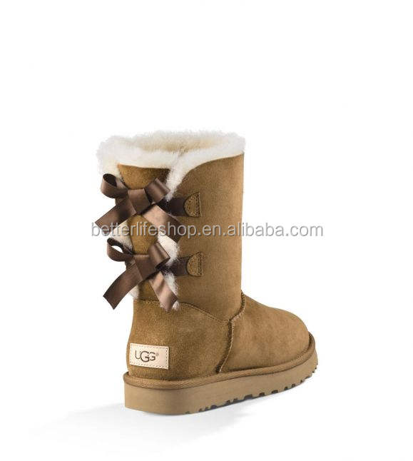 Women Ug genuine leather stockings Mini Bailey Bow II Boot uggging boots winter woman shoes