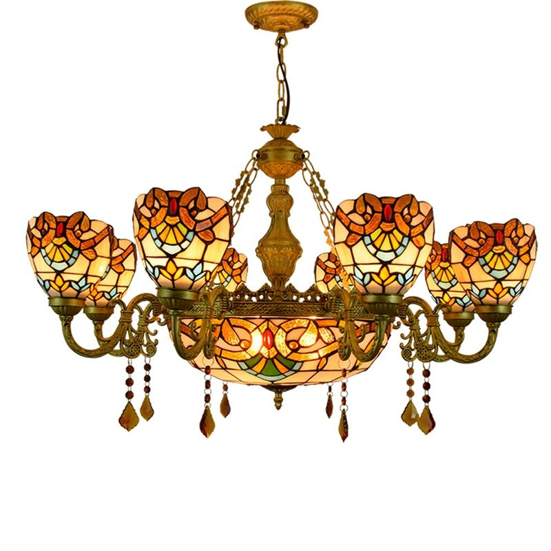 European luxury creative classic Baroque living room dining room crystal chandelier Tiffany retro color glass lamp