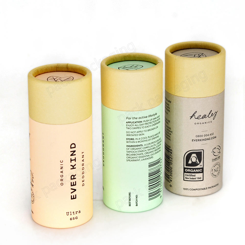 Biodegradable Natural Lip Balm Packaging Push Up Paper Tube Cardboard Container for Deodorant