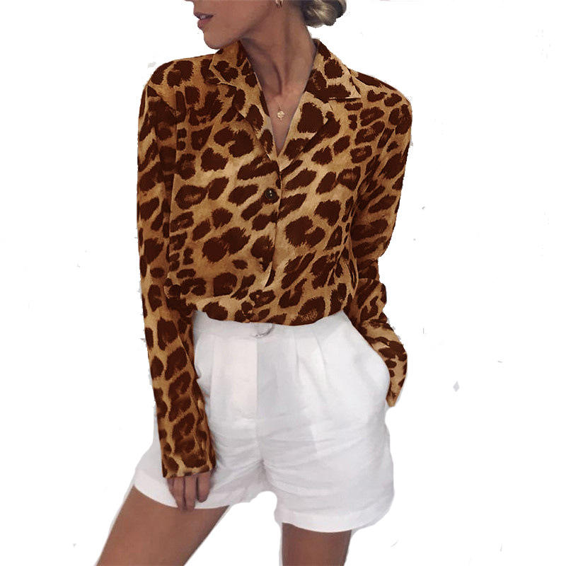 2021 European and American hot spring and autumn long sleeve leisure leopard print V-neck Chiffon women's top