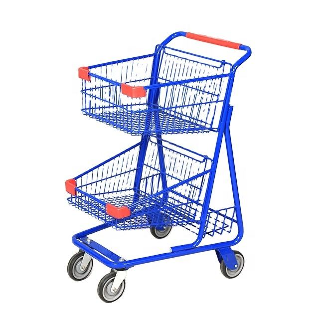 Supermarket American store shop metal two basket two tier hand push trolley shopping cart