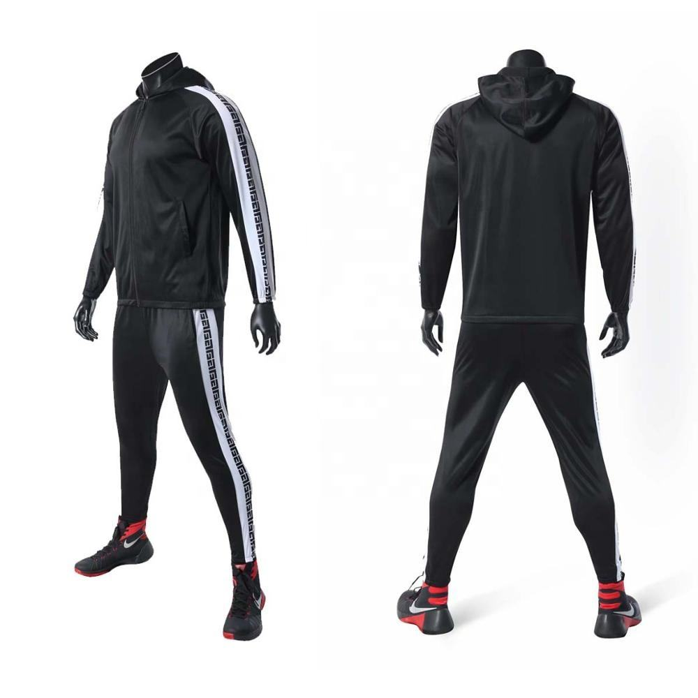 Wholesale sublimation print black polyester tricot tracksuit, track suit, sport suit with hood for men