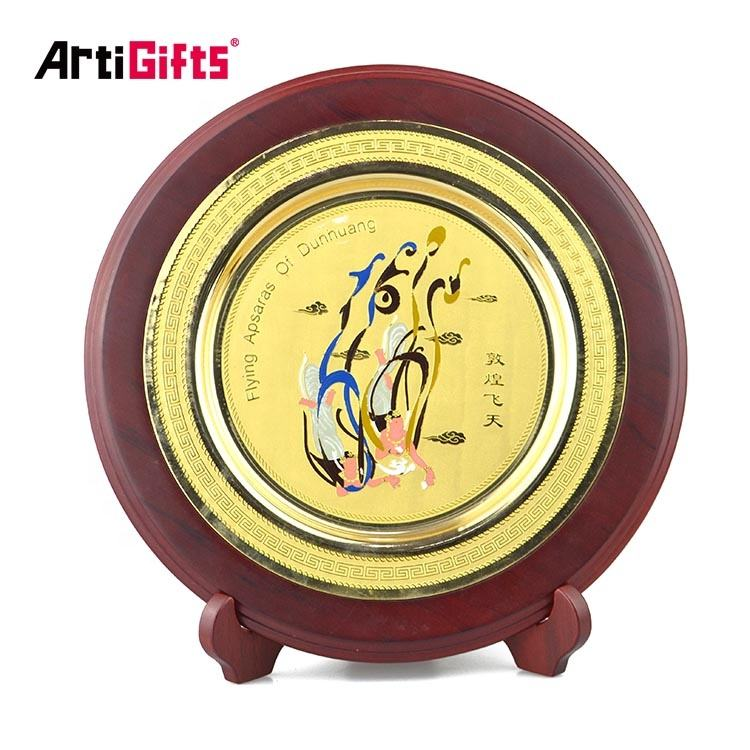 Custom Engraved Craft Metal and Wooden Stand Gold Trophy Plate Embossed Souvenir Award Medal Plaque