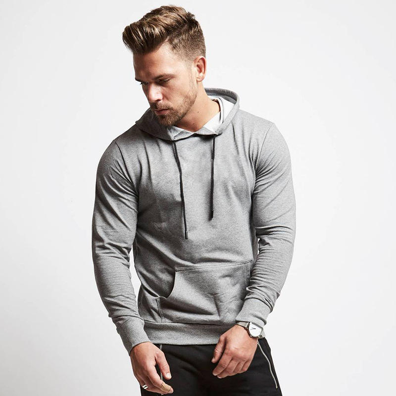 New autumn sports hooded sweater cotton running men's fitness hoodie