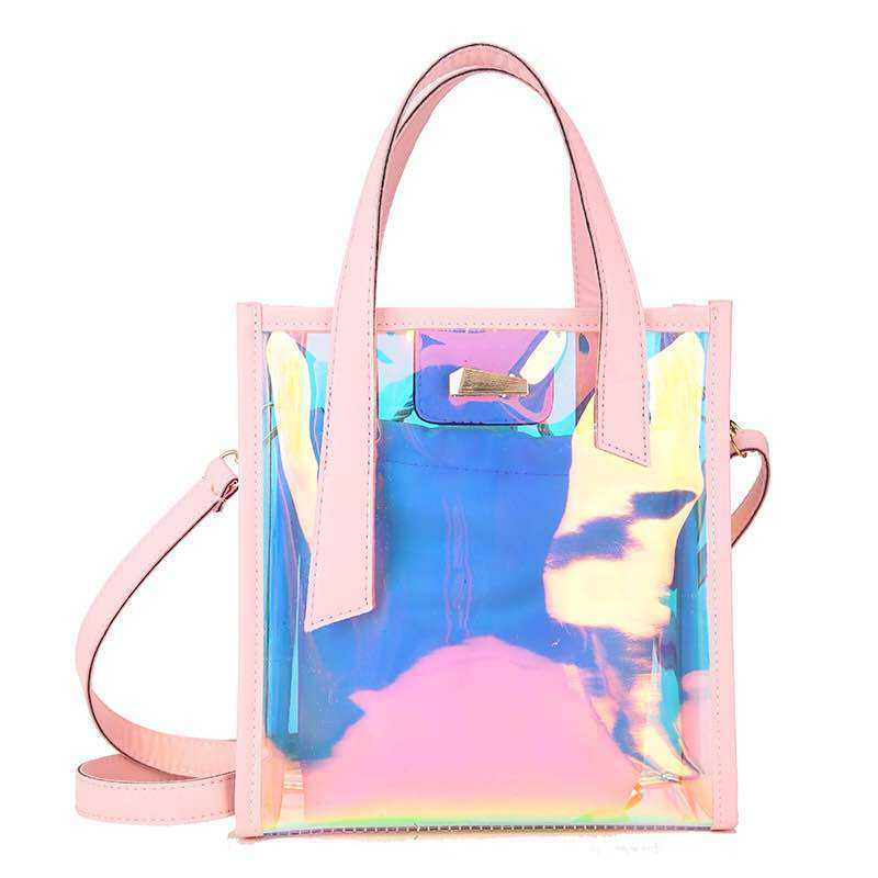Transparent Holographic Laser Hologram Handbag for Women Large Capacity Totes Ladies Fashion Colorful Shoulder Bag