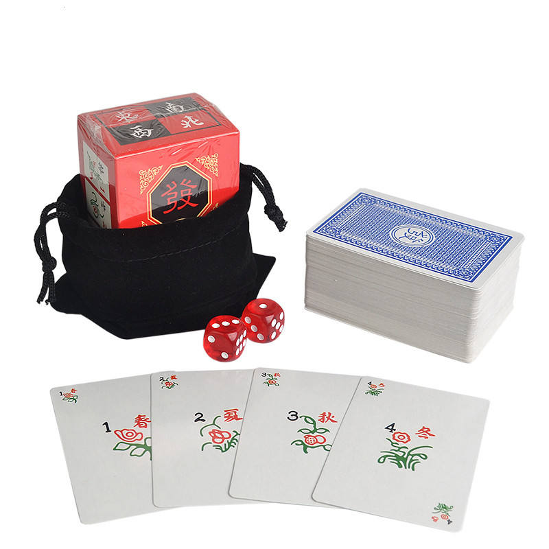 Portable Paper Mahjong playing cards set with 2 Acrylic dices&Flannelette bag Travel Mahjong Poker Card Chinese Board Game