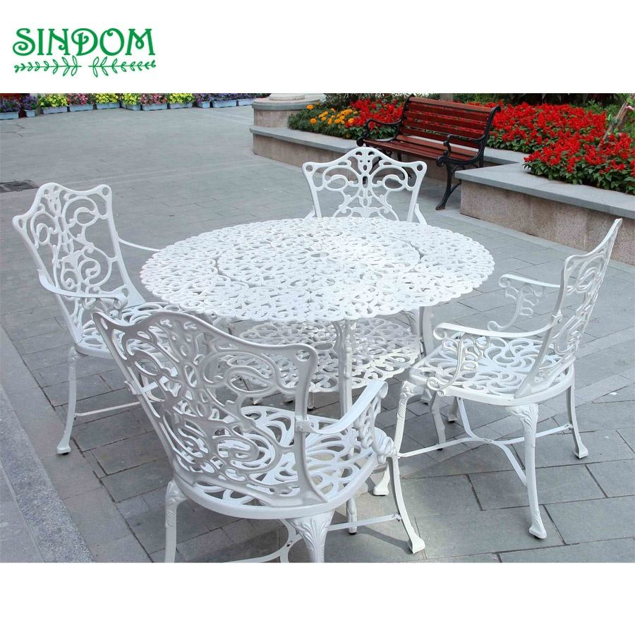 Luxury outdoor garden furniture cafe bistro set cast aluminum restaurant chairs and tables