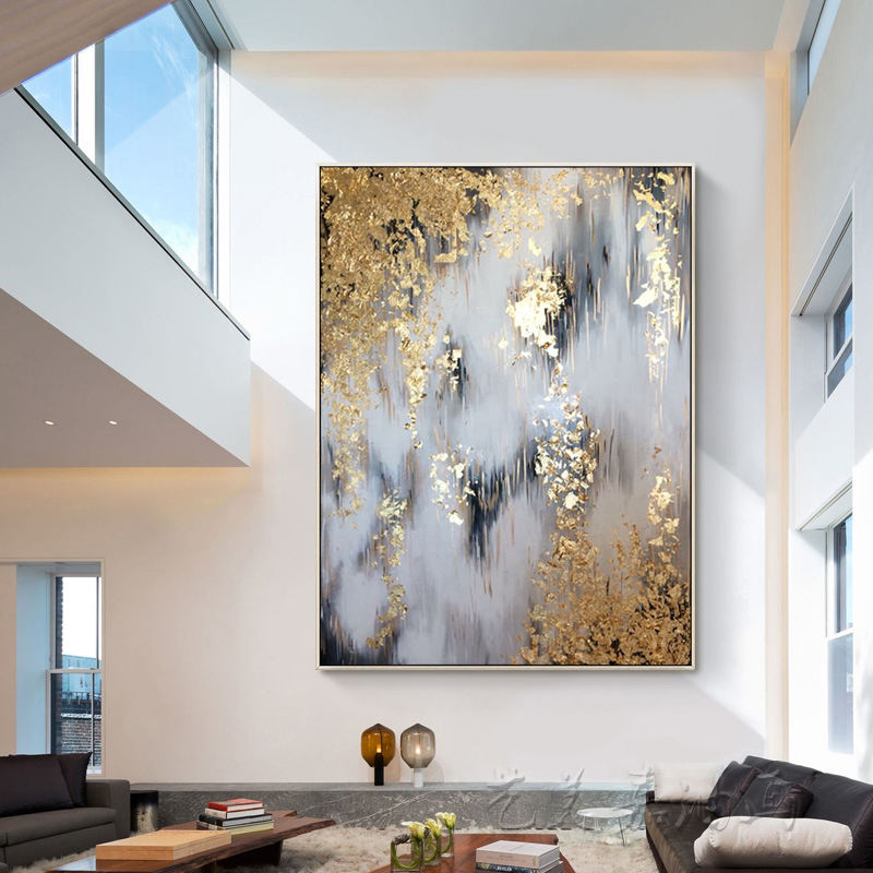 Wall Painting For Living Room Wall Modern Painting Handmade Gold Foil Abstract Hotel Artwork Wall Art Oil Painting on Canvas