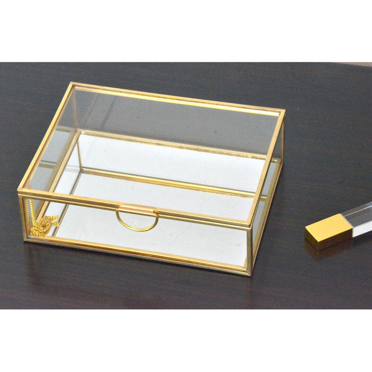 Table Top Small Jewelry Display Curio Case with Hinged Lid wholesale glass trinket boxes