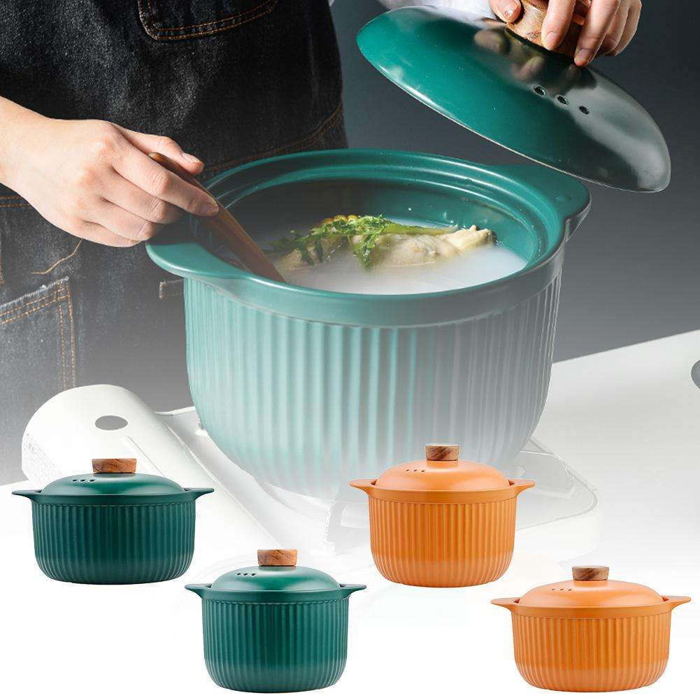 High Temperature Resistant Saucepan Cooker Pot Nutrition Healthy Soup Pot Ceramic Casserole With Lid