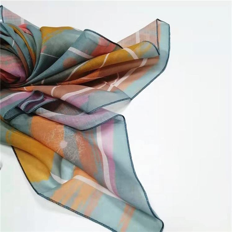 digital printed cotton voile hijab 115cm square scarf custom scarf