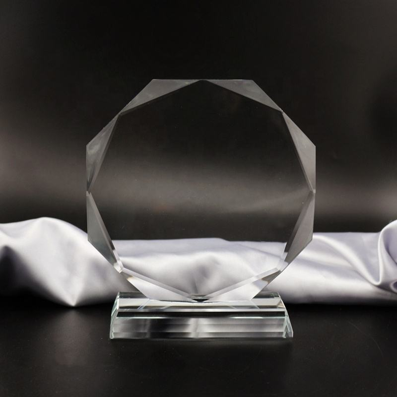 hot souvenirs blank glass Octagon award for gift/glass trophy K9 Crystal awards/Crystal Glass Trophy Award Plaque Art Craft