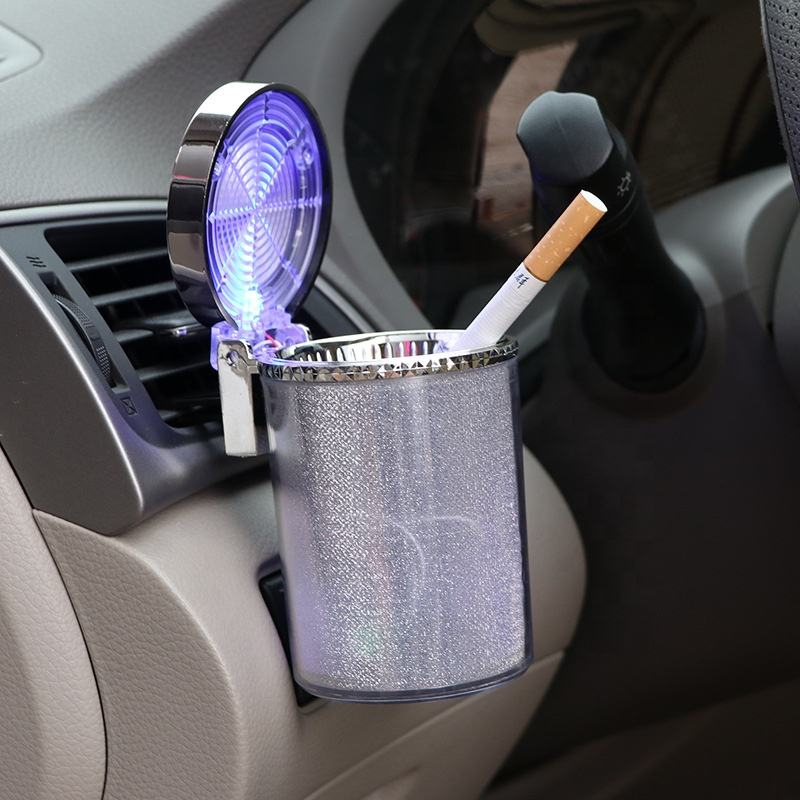Car Ashtray with LED Light Cup Shaped Car Ashtray Colorful Ashtray with Color Box