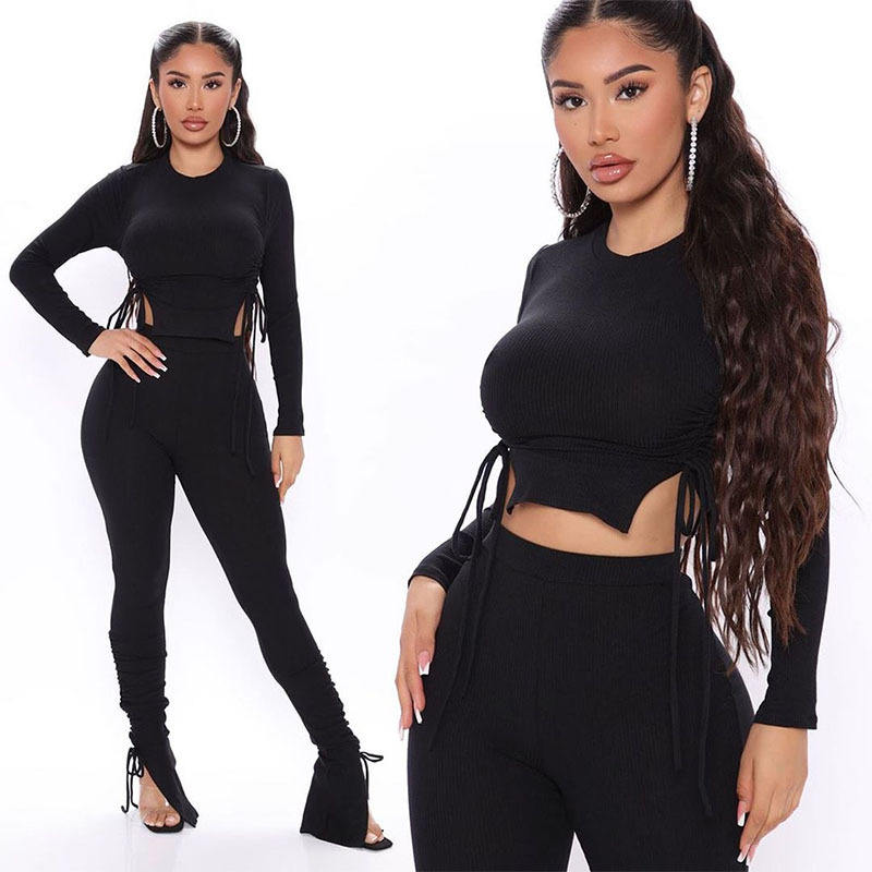 Vendor New Winter Clothes For Women Solid Color Long Sleeve Drawstring Slim Cut Crinkle Flare Lace Up Two Piece Pants Set
