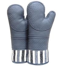Gray Silicone Oven Pot Holder Mitts  Extra Long Professional Heat Resistant Pot Holder & Baking Gloves