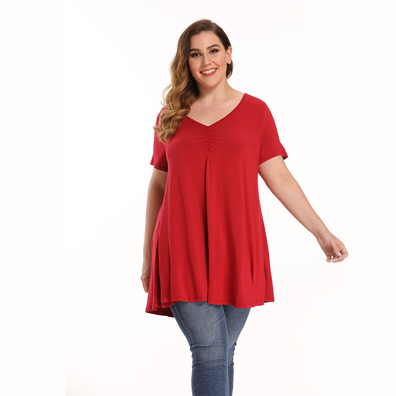 Plus Size Women Clothing Summer Blouses Sexy V-Neck Chest Pleated Short Sleeve Ruffle Tops Breathable Suitable For Office Wear