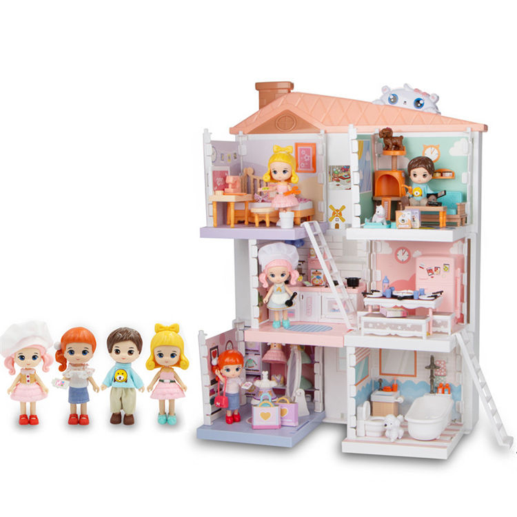 Hot selling fashion girls gift DIY Assemble Furniture Toys miniature doll house