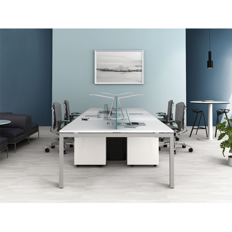 Wholesale office desk screen partition white office table 6 person workstation modern