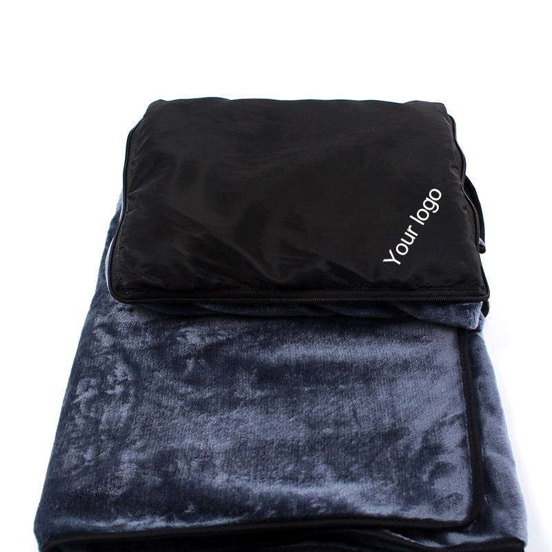 Adult Traveling Pillow Support Washable Flannel Travel Blanket With Bag Portable Foldable
