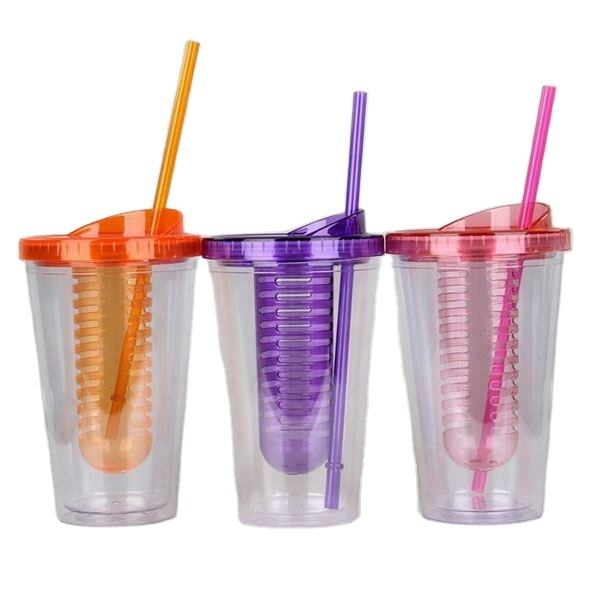 cute plastic fruit cup with lid and straw