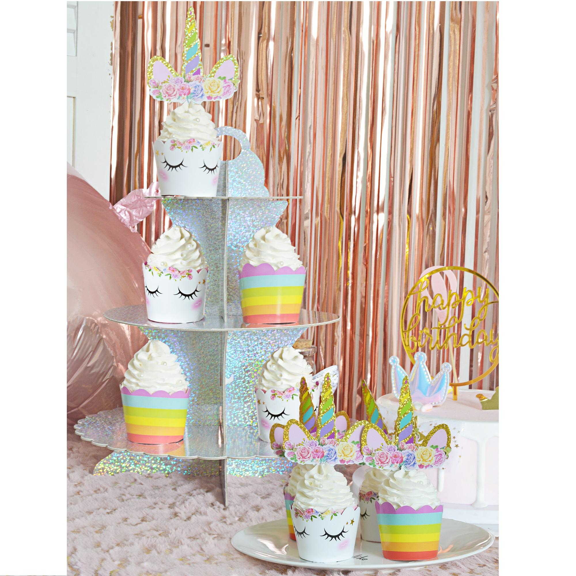 Children Birthday Party Unicorn Cupcake Topper Cupcake Wrappers Cake Stand